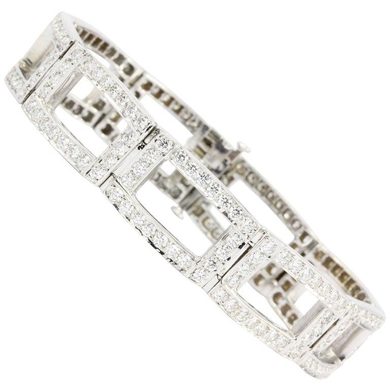 White Gold Diamond Rectangular Link Tennis Bracelet 8 Carat