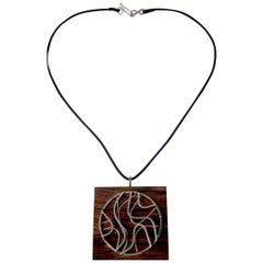 Milton Cavagnaro Sterling Silver Exotic Wood California Modernist Necklace