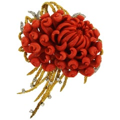 Coral Diamond Yellow Gold Pin Brooch Clip, 1970s