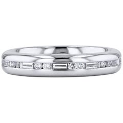 H&H Round Cut and Baguette Cut Diamond Satin Finish Eternity Band Ring
