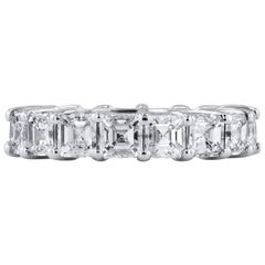 H & H 5.94 Carat Asscher Cut Diamond Eternity Band Ring