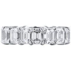 H&H 7.55 Carat Emerald Cut Diamond Eternity Band Ring