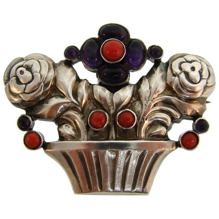 Georg Jensen Amethyst Coral Silver Flower Basket Pin Brooch Clip No. 67