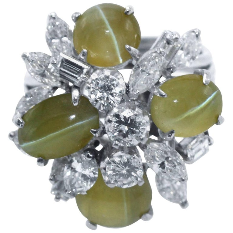 Cat's-Eye Chrysoberyl and Diamond Ring For Sale