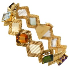 1960s Natural Multicolored Gemstone and Gold Bracelet