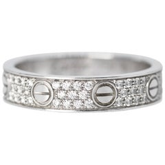 "Cartier Diamond and White Gold ""Love"" Band Ring"