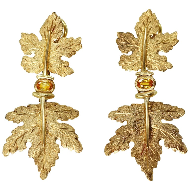 Buccellati Yellow Sapphire and Gold Pendant Earclips