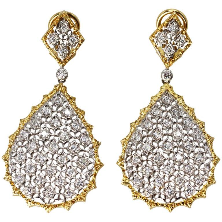 Buccellati Diamond and Two-Tone Gold Pendant-Earrings
