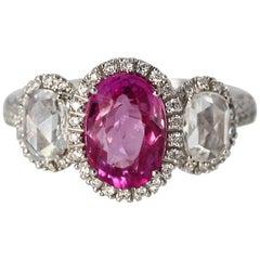 2.50 Carat Pink Sapphire and Diamond Ring