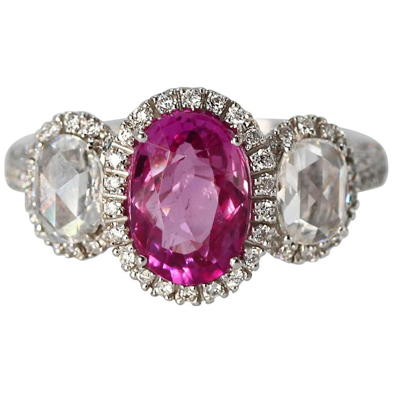 2.50 Carat Pink Sapphire and Diamond Ring For Sale