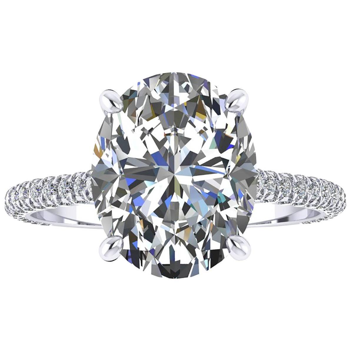 GIA Certified 2.52 Carat Oval Cut Diamond Platinum 950 engagement ring