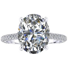 GIA Certified 2.52 Carat Oval Cut Diamond Platinum 950 engagement ring