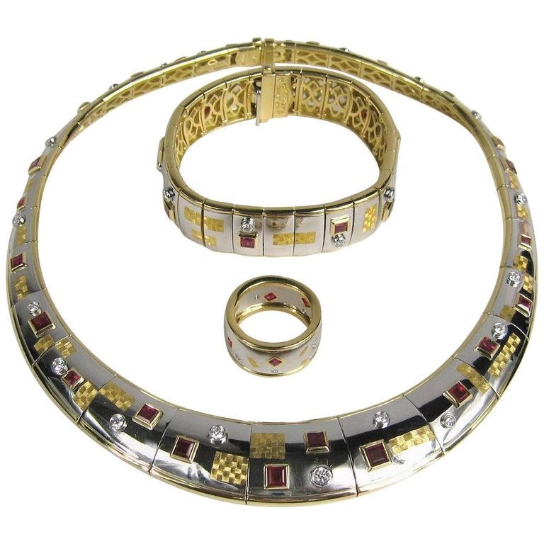 Michael Bondanza Platinum Gold Ruby Diamond Necklace, Bracelet and Ring