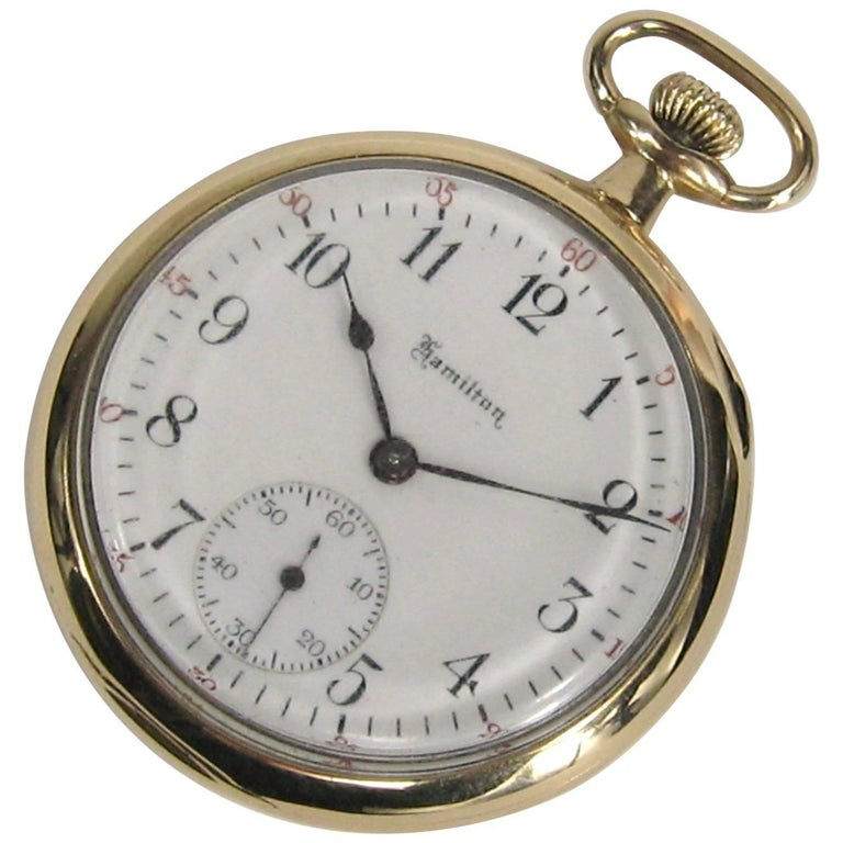 Hamilton Yellow Gold Open Face Antique Pocket Watch, circa 1919