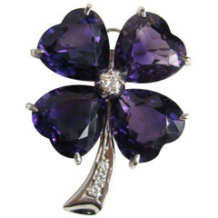 Platinum Diamond Amethyst Clover Brooch Pin