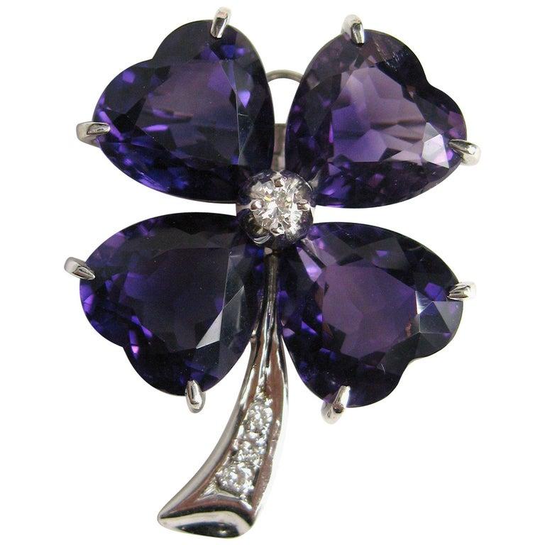 360e3583d Platinum Diamond Amethyst Clover Brooch Pin For Sale at 1stdibs