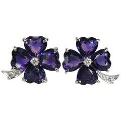 Stunning 1960s FFF Heart Amethyst Diamond Platinum Clover Earrings