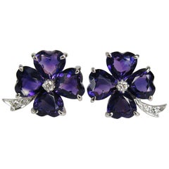 Platinum Diamond Heart Amethyst Clover Earrings