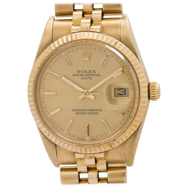 Rolex Yellow Gold Oyster Perpetual Date self winding Wristwatch, circa 1987