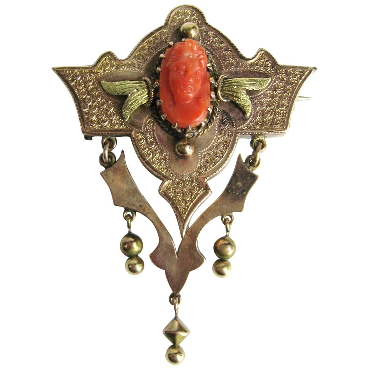 14 Karat Gold Coral Cameo Brooch Pin Pendant Victorian