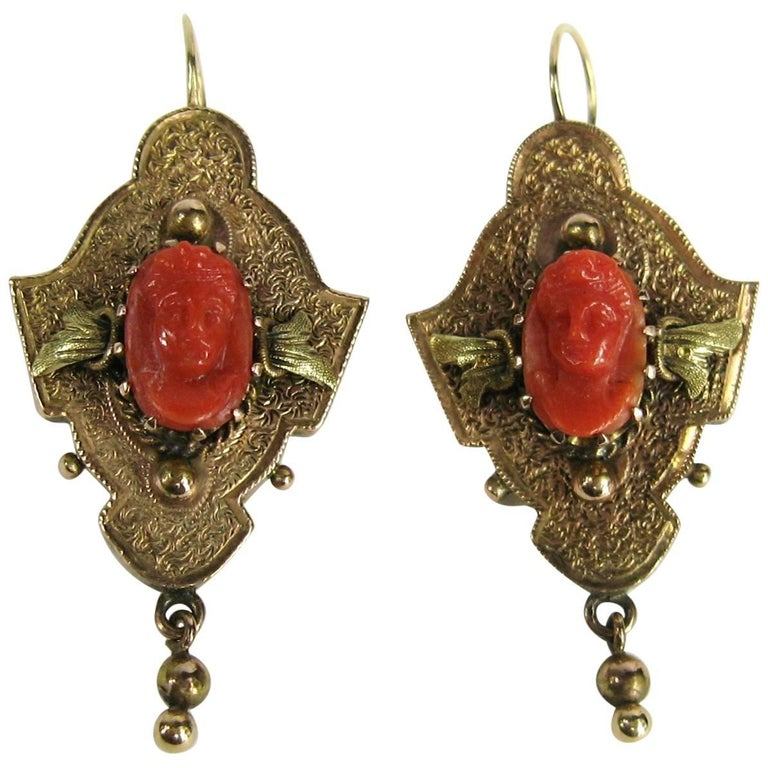 Victorian 14 Karat Gold Coral Carved Cameo Earrings