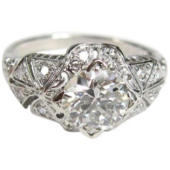 Antique Platinum 1 Carat Diamond Engagement Ring GIA Certified