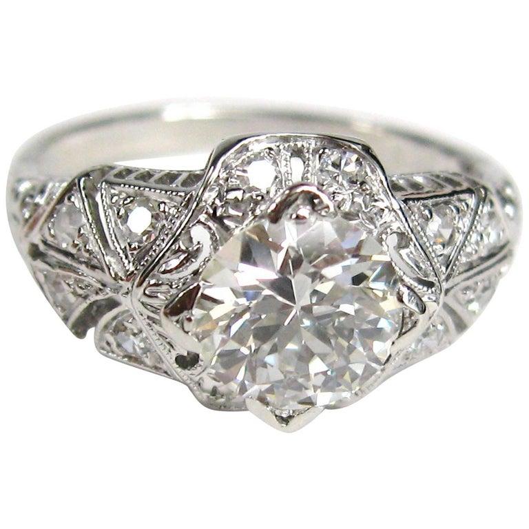 Antique Platinum 1 Carat Diamond Engagement Ring GIA Certified