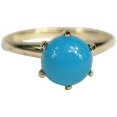 Antique Persian Turquoise Gold Claw Set Ring