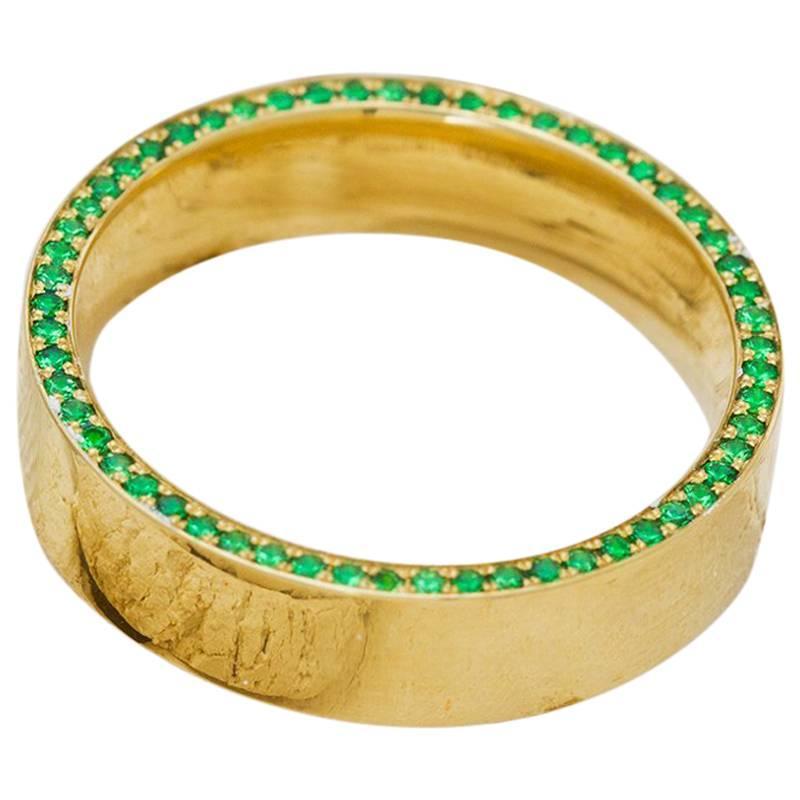Tsavorite and Diamond Micropavé 18 Karat Gold Ring