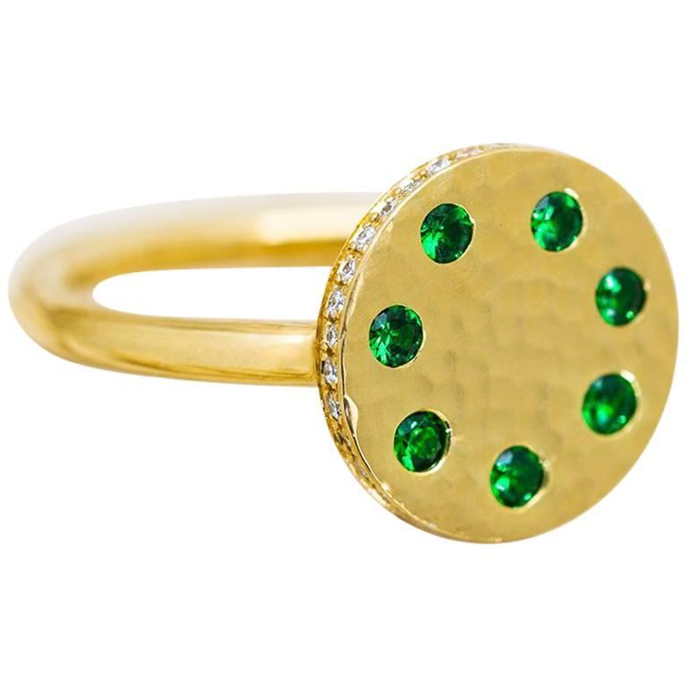 Tsavorite and Diamond Micropavé 18 Karat Gold Sundial Ring For Sale