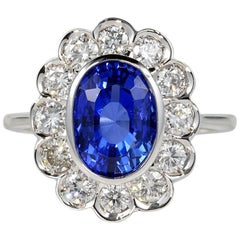 Certified 4.50 Carat No Heat Ceylon Sapphire and 1.80 Carat Diamond Rare Ring