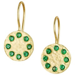 Tsavorite and 18 Karat Gold Sundial French Hook Earrings