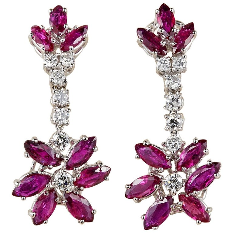 Vintage Flower Ruby Diamond Drop Earrings
