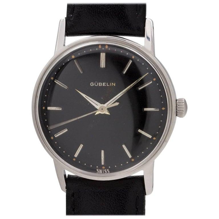 Gubelin Stainless Steel Black Original Dial automatic wristwatch, circa 1960s