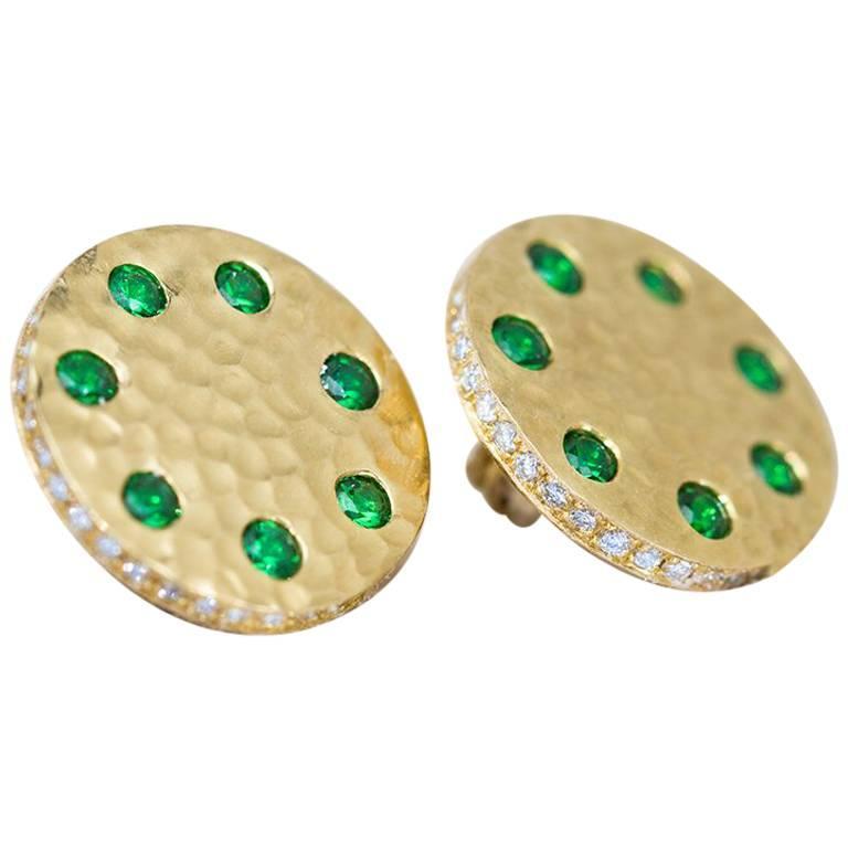 Tsavorite and Micropavé Diamond 18 Karat Gold Stud Earrings For Sale