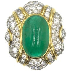 1970s Cabochon Emerald Diamond Cocktail Ring