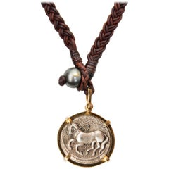 Trojan Coin Leather Necklace