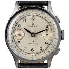 Rolex Steel Manual Wind Silver Dial Chronograph Antimagnetic 2508 Wristwatch