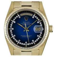 Rolex Gold Blue Vignette String Diamond Dial Day-Date 18038 Automatic Watch