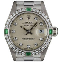Rolex White Gold Diamond and Emerald Set Datejust 69079 Automatic Ladies Watch
