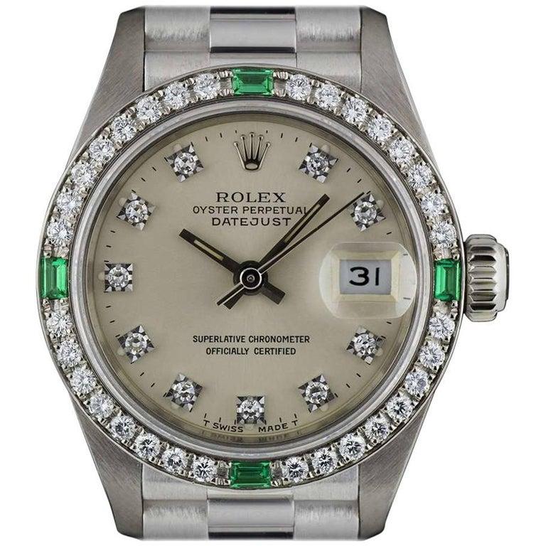 Rolex White Gold Diamond and Emerald Set Datejust 69079 Automatic Ladies Watch