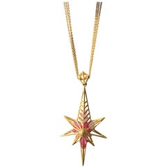 Lauren Harper Pink Sapphire Gold Star Necklace on Gold Chains
