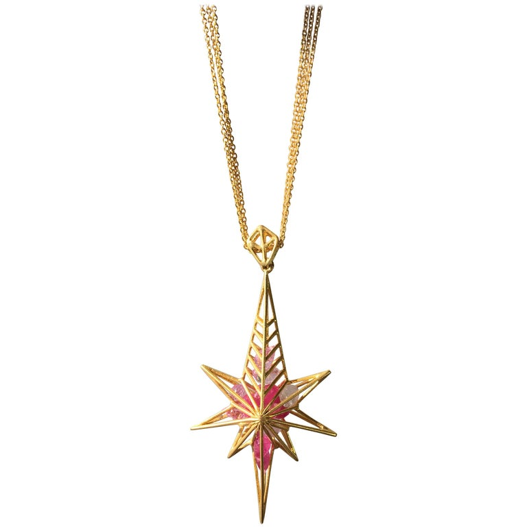 6fceb070695 Lauren Harper Pink Sapphire Gold Star Necklace on Gold Chains For Sale