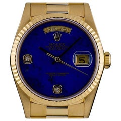 Rolex Gold Rare Lapis Lazuli Diamond Dial Day-Date 18238 Automatic Gents Watch