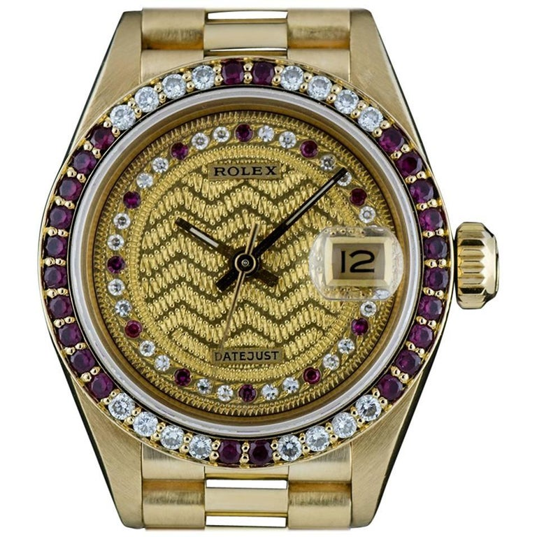 Rolex Gold Rare String Dial Ruby and Diamond Datejust 69068 Automatic Wristwatch For Sale