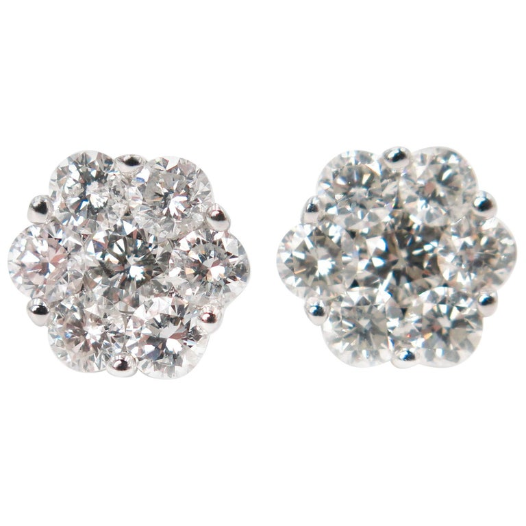 Diamond Flower Stud White Gold Earrings
