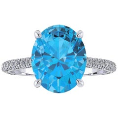 Ferrucci Natural Oval Blue Topaz and White Diamonds Platinum Engagement Ring