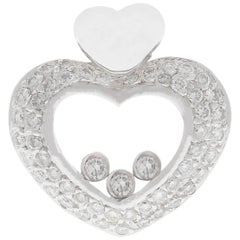 White Heart Pendant with Moving Diamonds