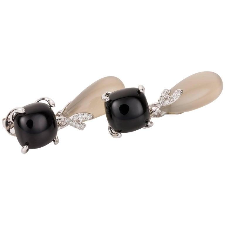 Black Onyx, Chalcedony and Diamond 18 Karat White Gold Drop Earrings