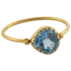 Aquamarine Yellow Gold Stacking Ring